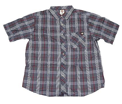 5dcd5d64 Dickies Men's Short Sleeve Casual Plaid Shirt (Navy/Red, X-Large)
