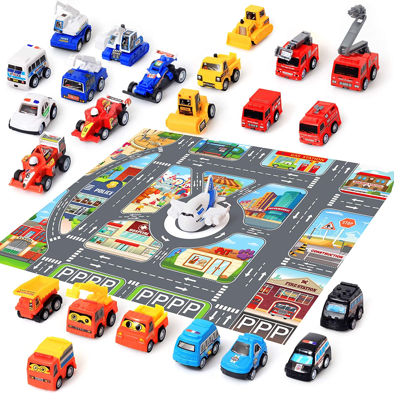 24 Car Toys with Play Mat, 26.7