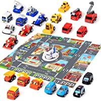 """24 Car Toys with Play Mat, 26.7"""" x 31.5"""" City Playmat Include Including Construction Vehicles, Kart, Police Cars…"""