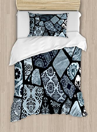 Amazoncom Ambesonne Floral Duvet Cover Set Twin Size Modern - Geometrical-shapes-on-bedding