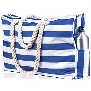 Beach Bag XXL. 100% Waterproof (IP64). L22 xH15 xW6 w Cotton Rope Handles, Top Zipper, Extra Outside Pocket. Navy Blue Beach Tote Includes Waterproof Phone Case, Built-in Key Holder, Bottle Opener