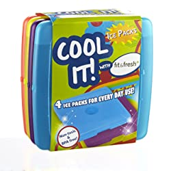 Fit & Fresh Cool Coolers Slim Lunch Ice Packs Multicolored - Set of 4