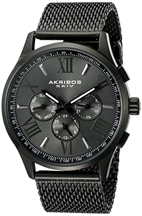 Akribos XXIV Mens AK844 Round Navy Radiant Sunburst Dial Two Time Zone Quartz Staniless Steel Bracelet