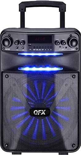 QFX PBX-115 15 Rechargeable Smart App Controlled Portable Party Speaker with Wired Microphone