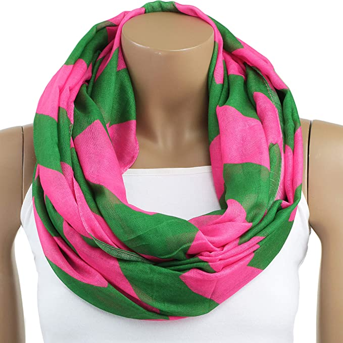 5b17789565ab1 Image Unavailable. Image not available for. Color: Oversized Lightweight  Pink and Green Chevron Infinity Scarf