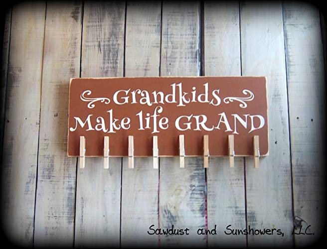 Amazoncom Rustic Photo Board For Grandparents Handmade Wooden Sign