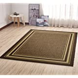 "Ottomanson Ottohome Collection Color Contemporary Bordered Design Area Rug with Non-Skid (Non-Slip) Rubber Backing, 5'0"" x 6'6"", Brown"