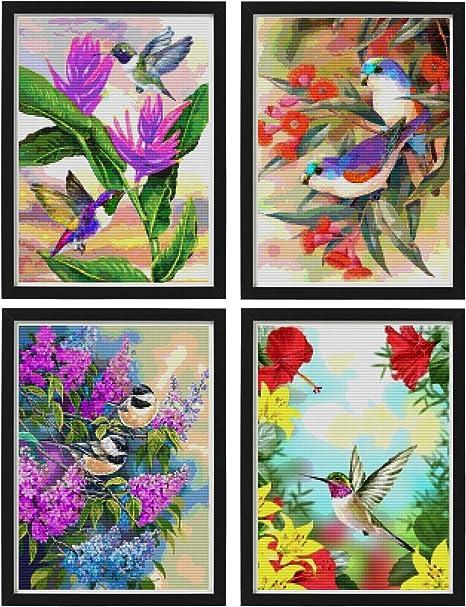 DIY Mosaic Diamond Painting Purple Flowers Embroidery Hummingbird Wall Decor WE