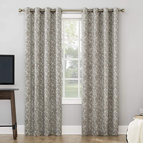 Sun Zero Cecile Botanical Paisley Theater Grade Extreme 100 Blackout Grommet Curtain Panel, 52 x 95 , Khaki White