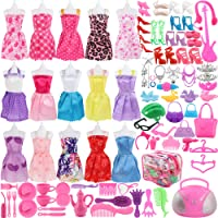 """SOTOGO 106 Pcs Doll Clothes Set Fit for (11. 0""""-11. 8"""") Dolls Include 15 Pack Clothes Party Grown Outfits and 90 Pcs Different Doll Accessories for Little Girl"""