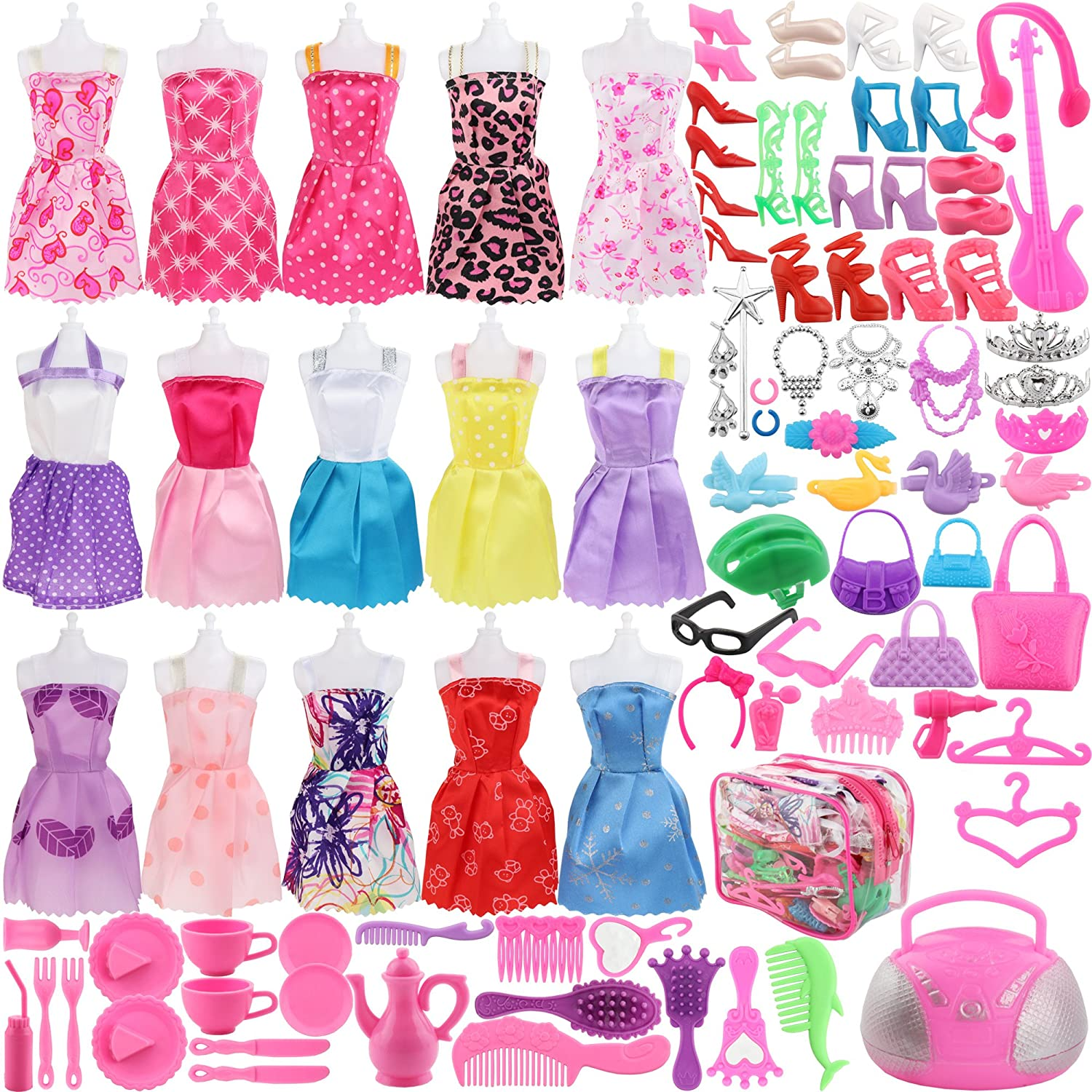 SOTOGO 106 Pcs Doll Clothes Set for Barbie Dolls Include 15 Pack Clothes Party Grown Outfits and 90 Pcs Different Doll Accessories for Little Girl