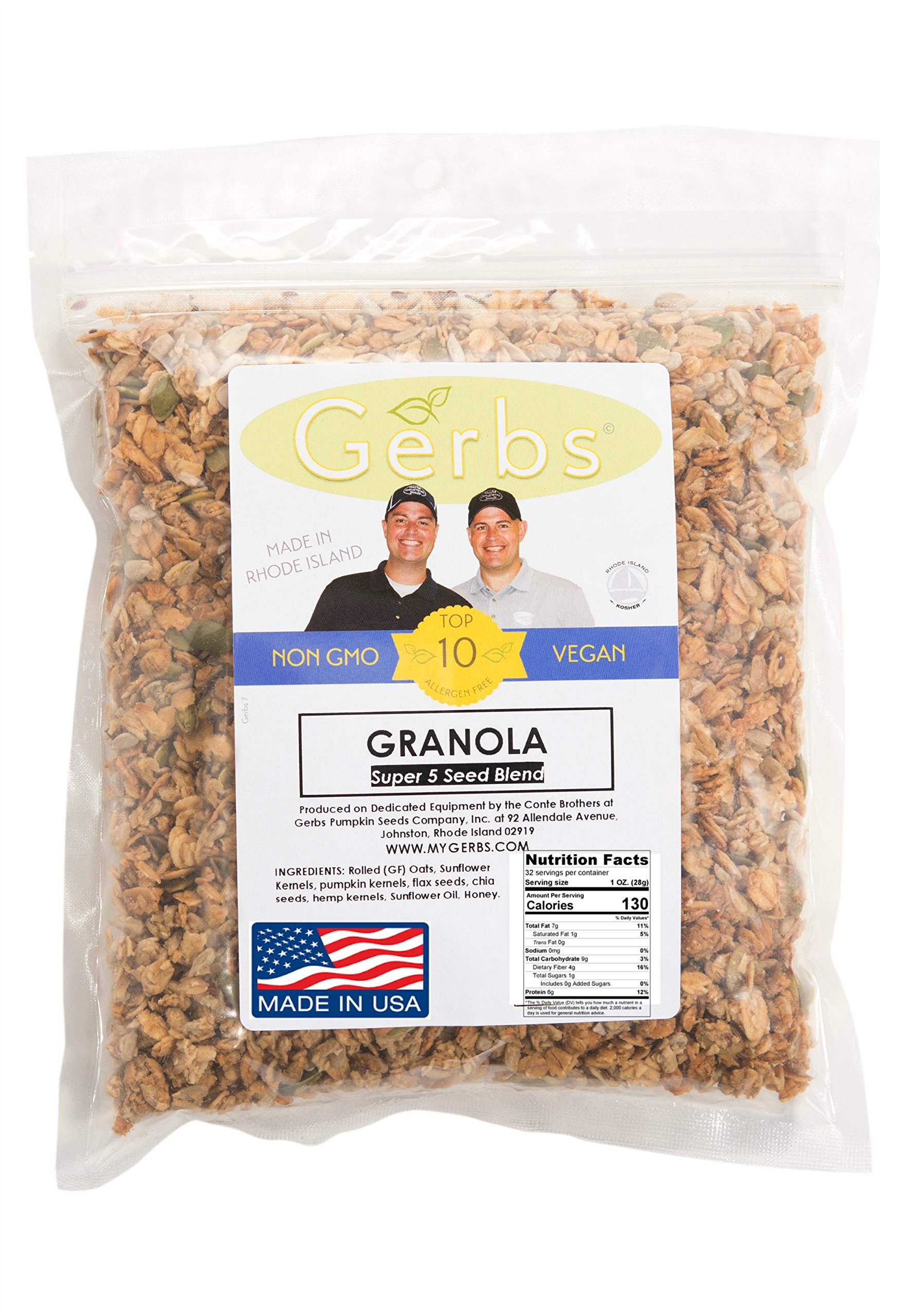 Super 5 Seed Granola (Pumpkin, Sunflower, Chia, Hemp, Flax) – 2 LBS - Top 11 Food Allergen Free & NON GMO – Vegan & Kosher