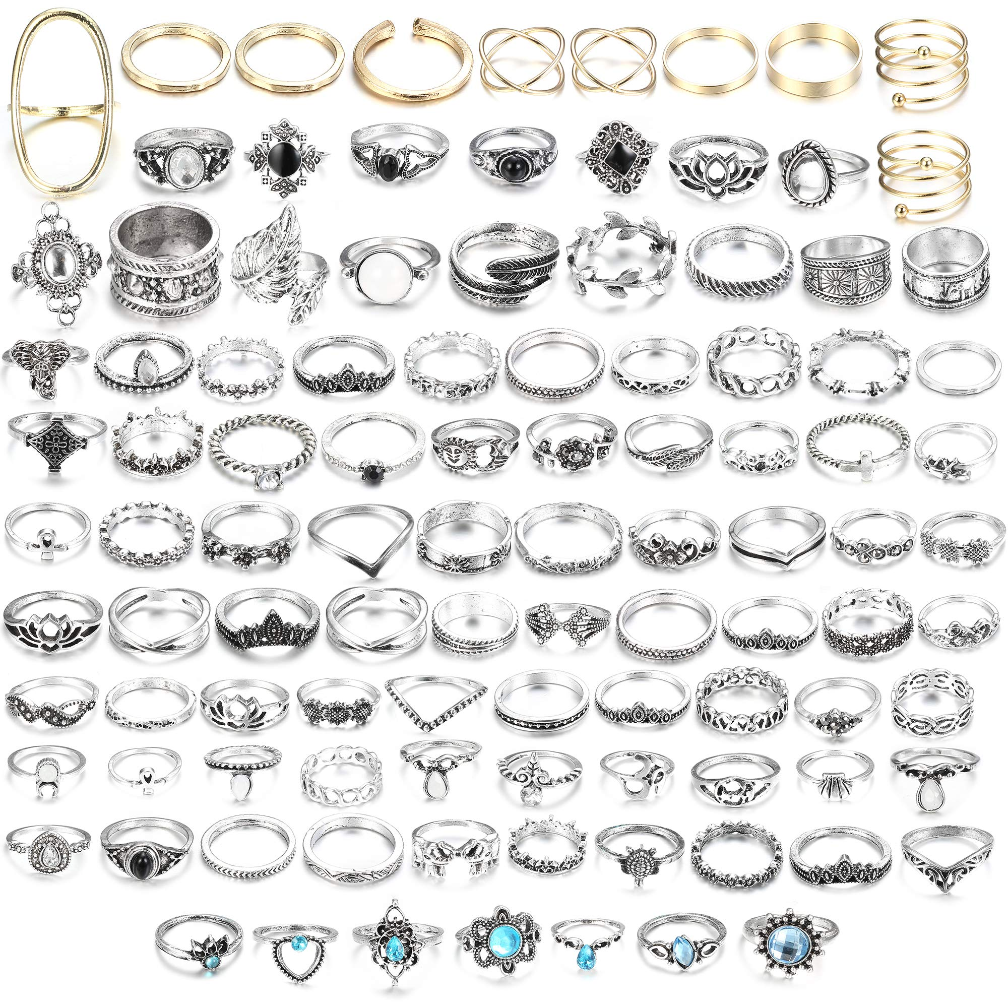 LOLIAS 44-60 Pcs Vintage Knuckle Ring Set for Women Girls Stackable Rings Set Hollow Carved Flowers (B:101 Pcs a Set)