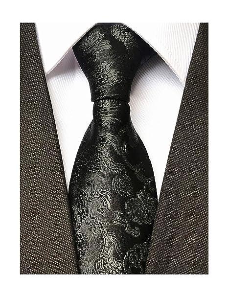 3197f58aaaae Mens Solid Black Jacquard Woven Casual Silk Nice Ties Neckties Suitable  Business