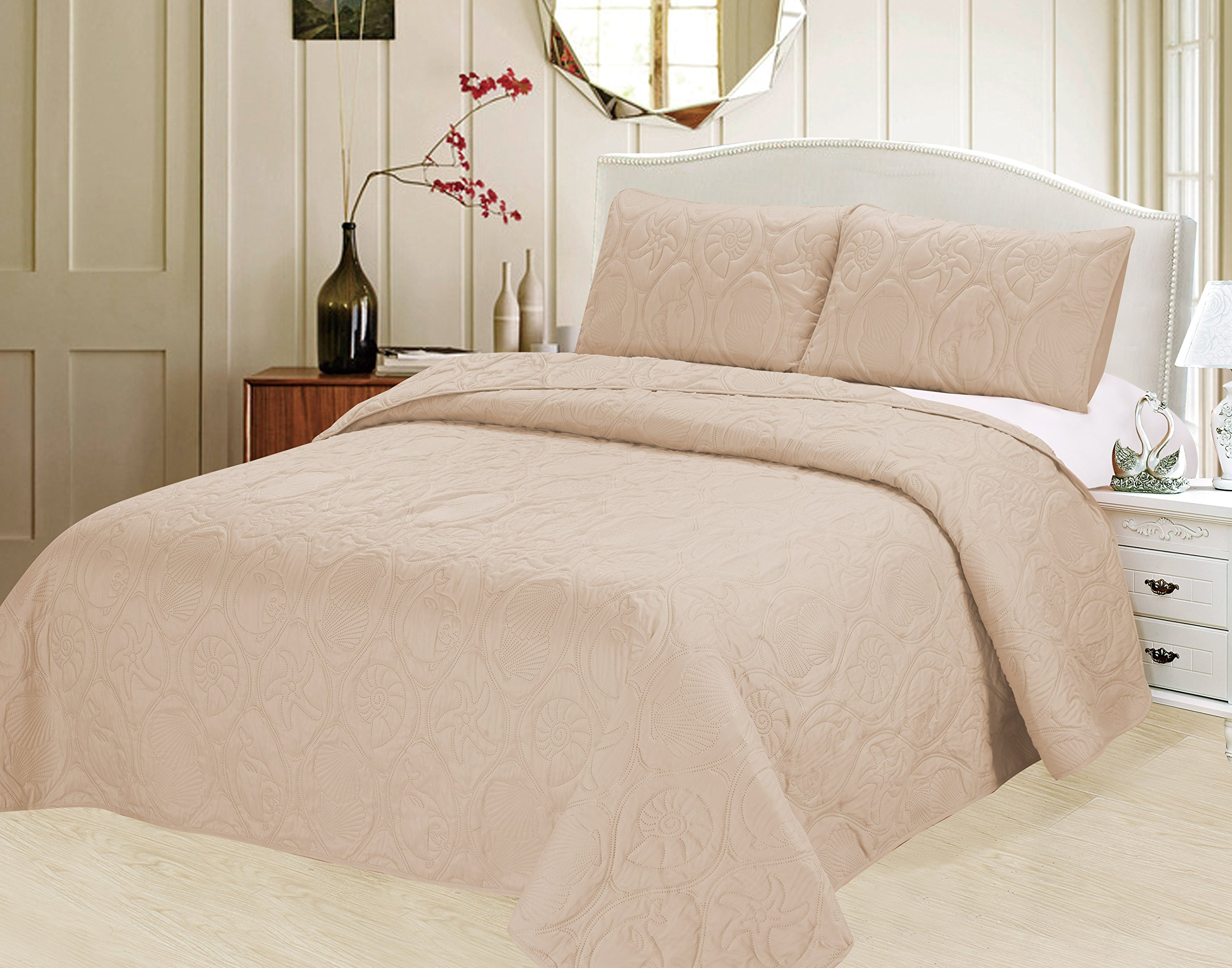Verno Ocean Star Oversized Bedspread Set with Shams (Ivory, Full) by Verno