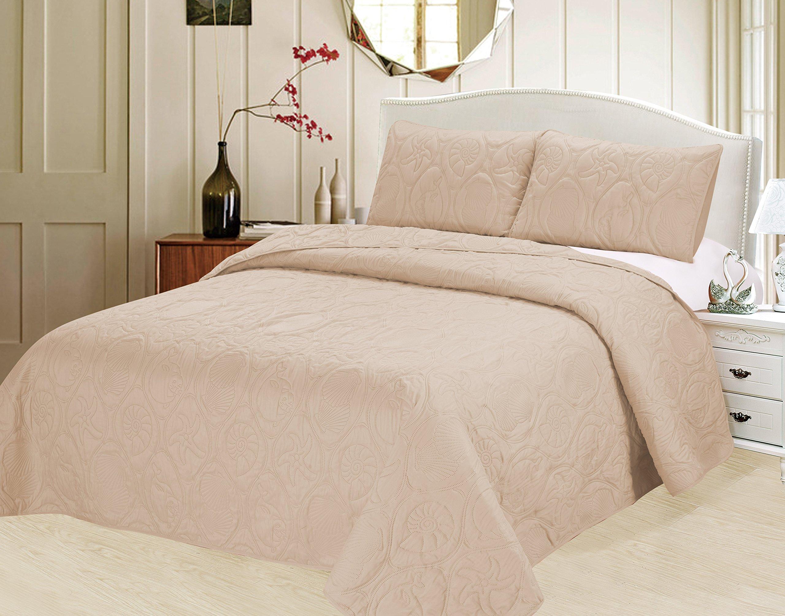 Verno Ocean Star Oversized Bedspread Set with Shams (Ivory, Full)