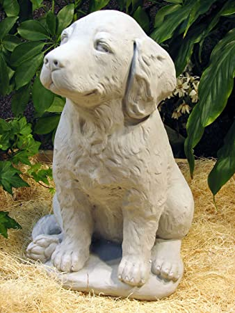 Dog Golden Retriever Labrador Puppy 16 Gray Cast Cement Statue Outdoor  Garden