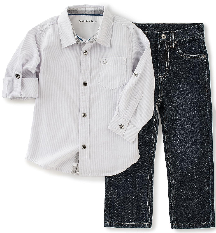 317398d3 Amazon.com: Calvin Klein Baby Boys' Shirt and Jeans Pants Set: Clothing
