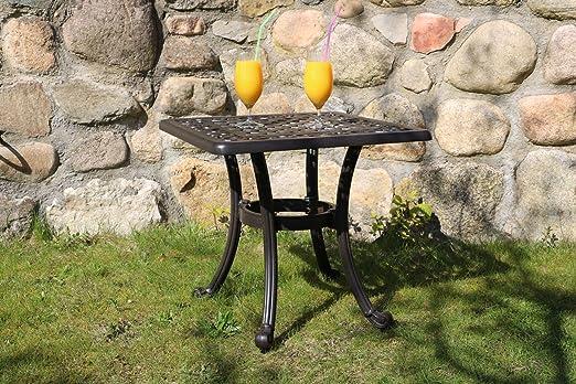 Table de jardin, fonte d\'aluminium, 54 x 54 cm, hauteur 47 ...