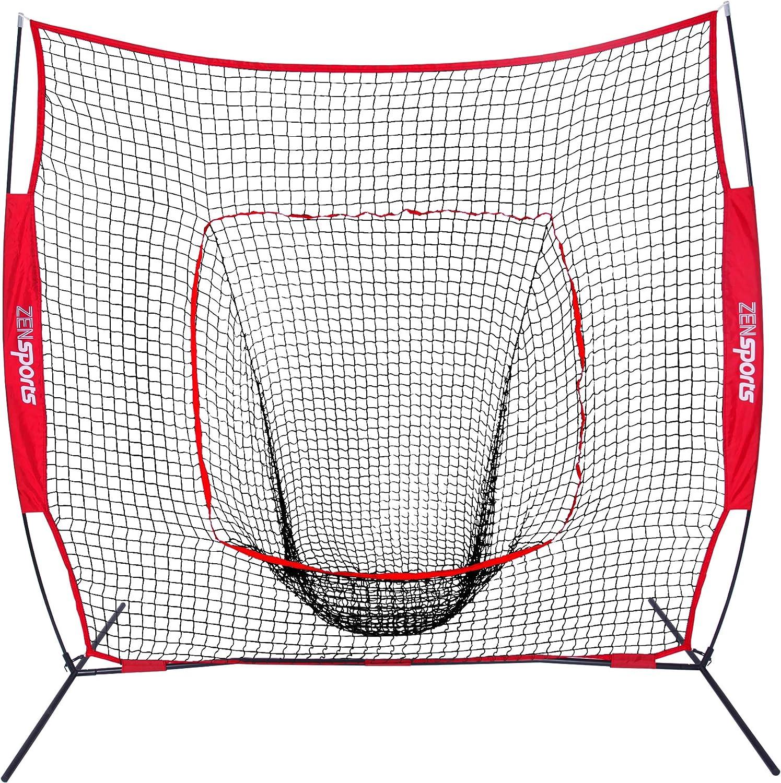 ZENY 7/×7 Baseball Softball Practice Net Hitting Batting Catching Pitching Training Net w//Carry Bag /& Metal Bow Frame Backstop Screen Equipment Training Aids
