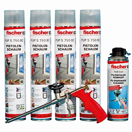 Fischer 62440 Juego de espuma de poliuretano, 4 x 1 K de pistola de espuma