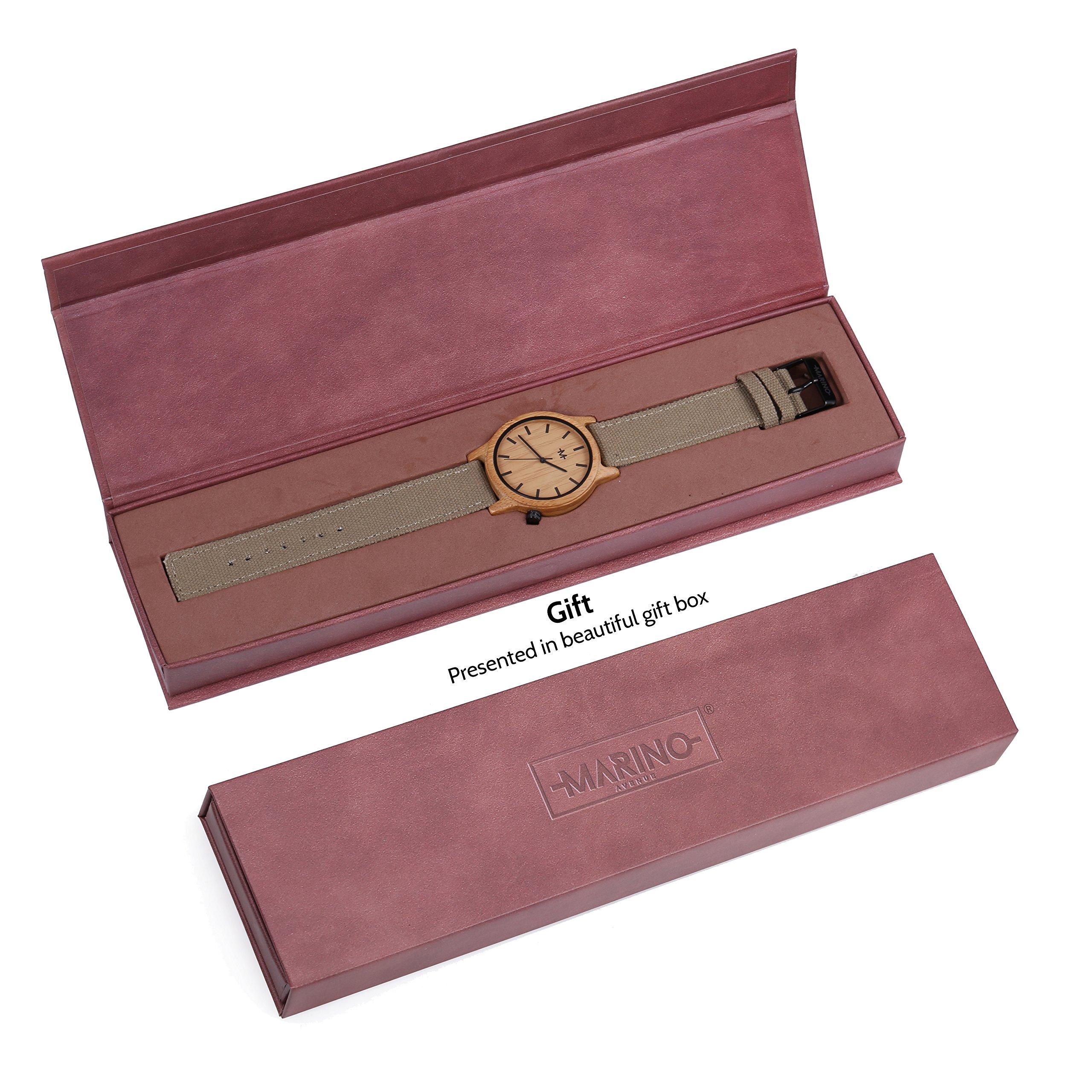 Marino Mens Wooden Watch - Wrist watches for Men - Dress Wood Watch (One Size, Khaki - Canvas Band) by Marino Avenue (Image #6)