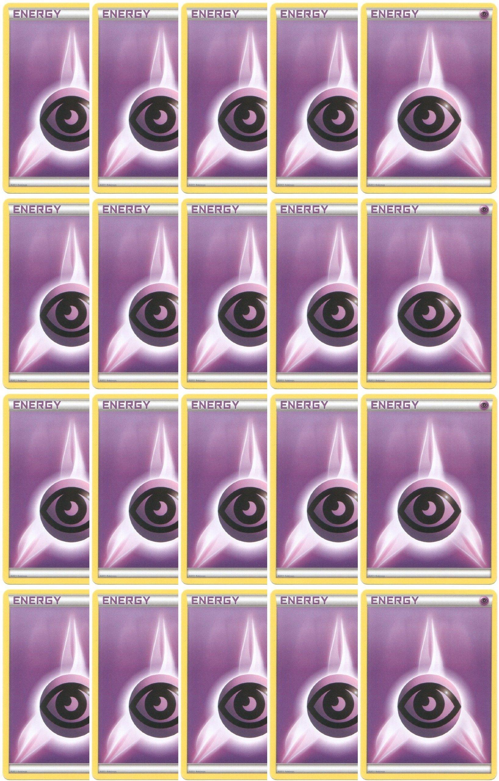 20 Basic Psychic Energy Pokemon Cards (XY/Black and White Series Design, Unnumbered) [Purple-Type]