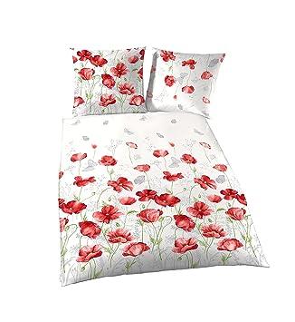 Träumschön Blumen Bettwäsche 135x200 Mohnblumen Design 100