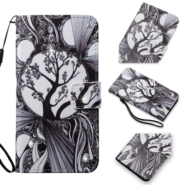 Soporte Ranuras Tarjetas Billeterapara Samsung S5 Correa mano Love Flower Funda Galaxy S5,Cover Galaxy S5,Aireratze Billetera Libro Cuero,PU Leather TPU Silicona Glitter Diamond 3D Smooth Surface