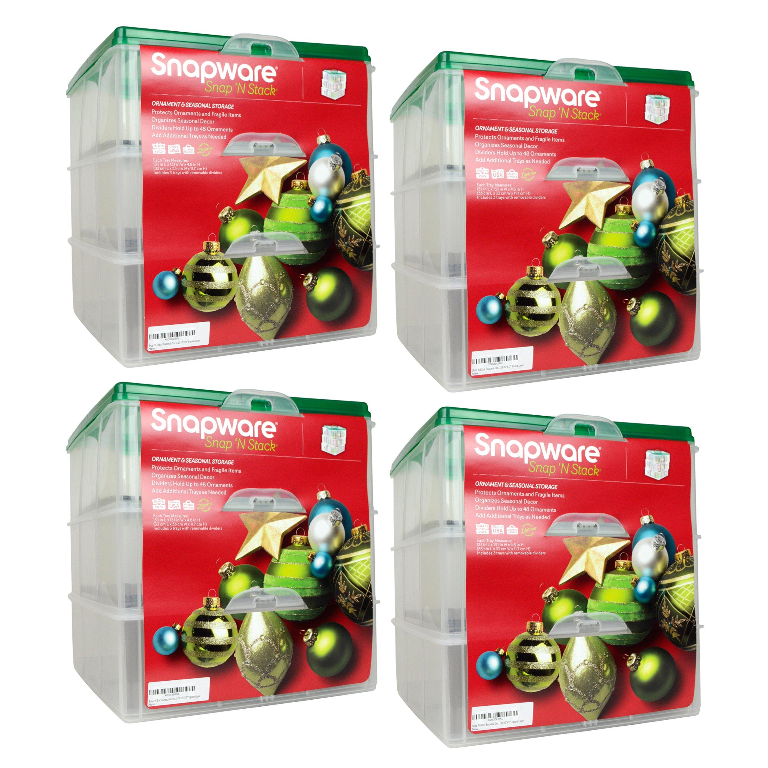 Snapware Snap 'N Stack 12 X 12-inch 3 Tier Seasonal Ornament Keeper (4 Pack)