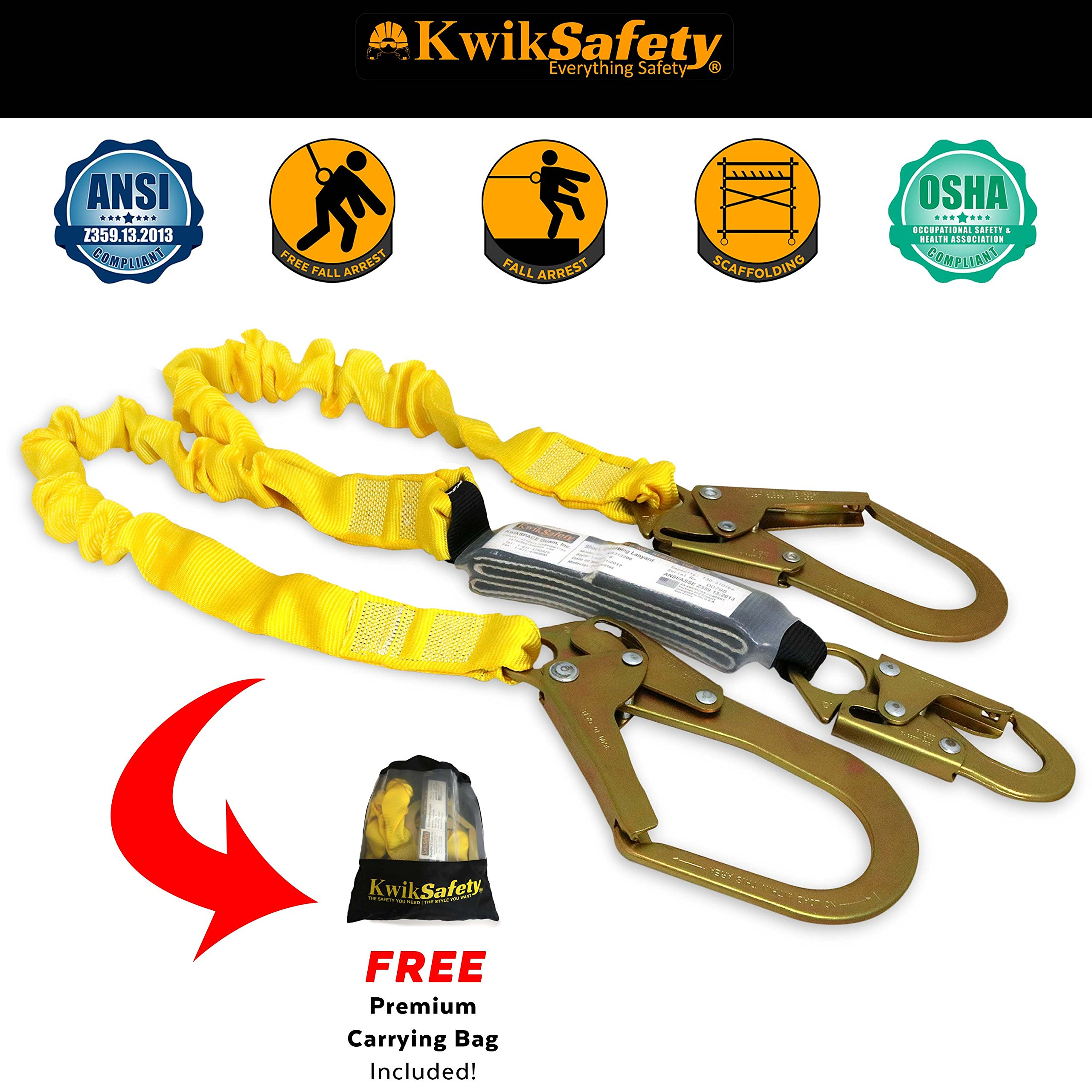 KwikSafety PYTHON   Double Leg 6ft Tubular Stretch Safety Lanyard   OSHA Approved ANSI Compliant Fall Protection   EXTERNAL Shock Absorber   Construction Arborist Roofing   Snap & Rebar Hook Connector by KwikSafety (Image #3)