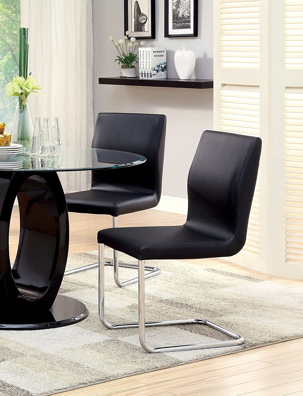 Set of 2 Furniture of America-DROPSHIP IDF-3825BK-SC Black Furniture of America Quezon Modern Leatherette Dining Chair