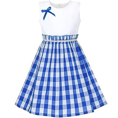 8f2844d9959 Sunny Fashion Robe Fille Bleu Tartan Plaid Robe d été Arrière École 4-5