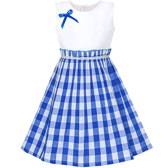 Sunny Fashion Vestido para Niña Azul Tartán Plaid Sol Regreso a Clases 4-5 Años