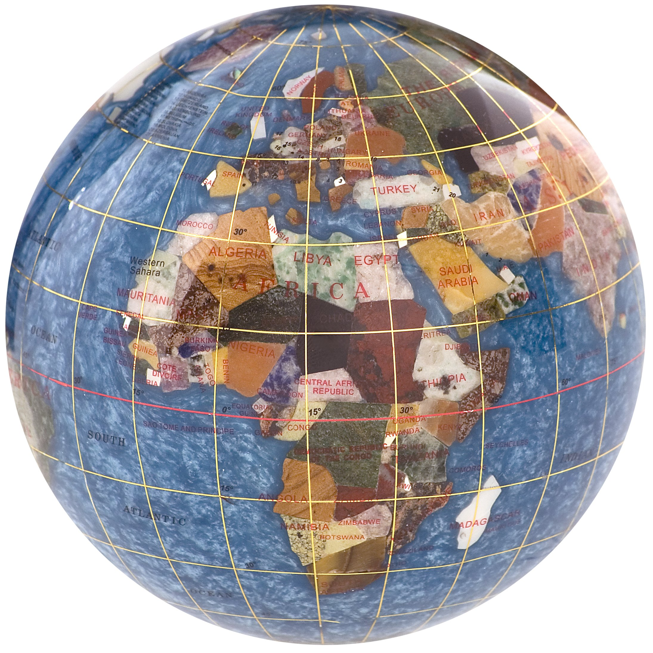 Gemstone Globe Paperweight with Opalite Ocean Color: Marine Blue, Size: 4''