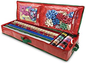 Christmas Gift Wrap Storage Organizer - Easily organize your Xmas Wrapping Paper, Ribbons, Bows and Scissors. Keeps Holiday Gift Supplies in Perfect Condition Year Round and Ready for the Next Season.