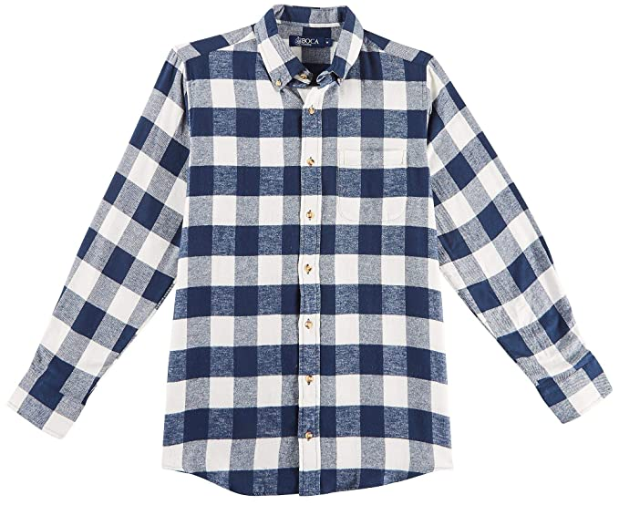 f2e7afa0be54 Image Unavailable. Image not available for. Color: Boca Classics Mens  Checkered Plaid Flannel Shirt X-Large Navy ...