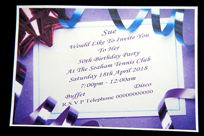 25 50 75 Or 100 X Personalised Birthday Invitations 20th 30th