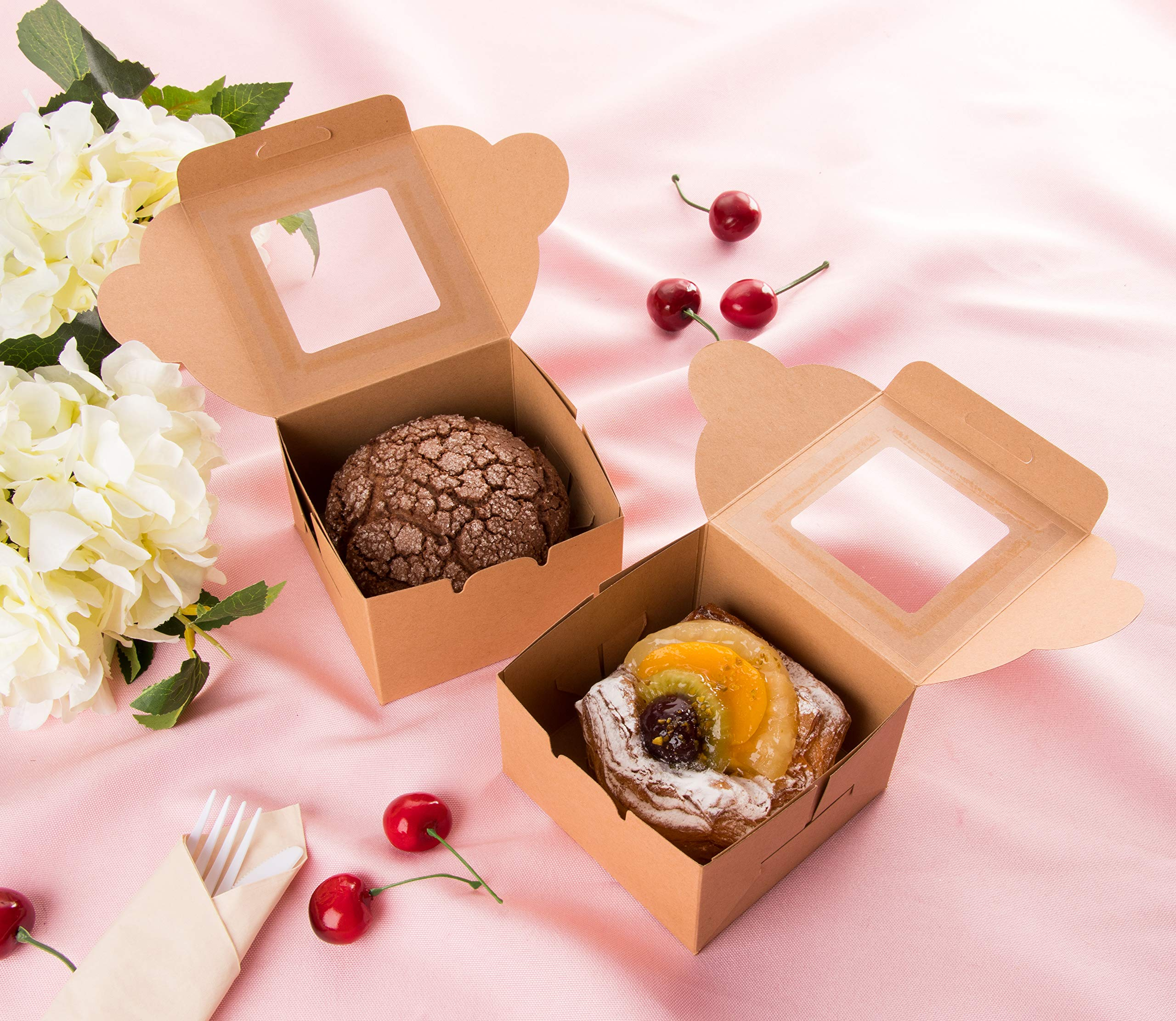 Kraft Paper Bakery Boxes - 50-Pack Single Pastry Box 4-Inch Packaging with Clear Display Window, Donut, Mini Cake, Pie Slice, Dessert Disposable Take-Out Container, Holds 1, Brown, 4 x 2.3 x 4 Inches by Juvale (Image #2)