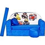 Welox Kindersofa Bettfunktion 3in1 - Kindersessel, Ausziehbett, blau Autos