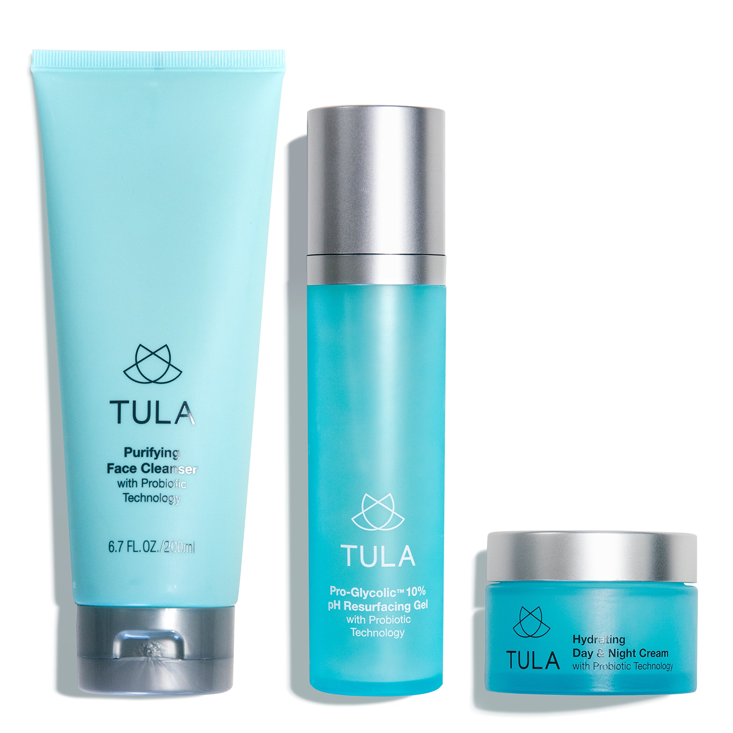 TULA Probiotic Skin Care 3-Step Balanced Skin Bundle | Full-Size Face Wash, Day & Night Face Moisturizer, Pro-Glycolic Resurfacing Face Toner | Best for Normal and Dry Skin by TULA