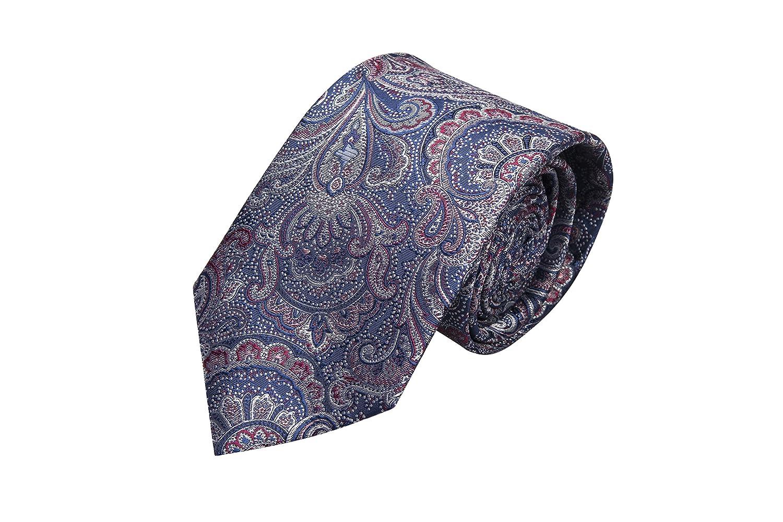 Notch Krawatte aus Seide für Herren - Paisley in Rot, Blau und Silbergrau