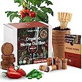 Indoor Salsa Garden Starter Kit - Certified USDA Organic Non GMO - 5 Seed Types San Marzano Tomato, Cherry Tomato, Jalapeño,