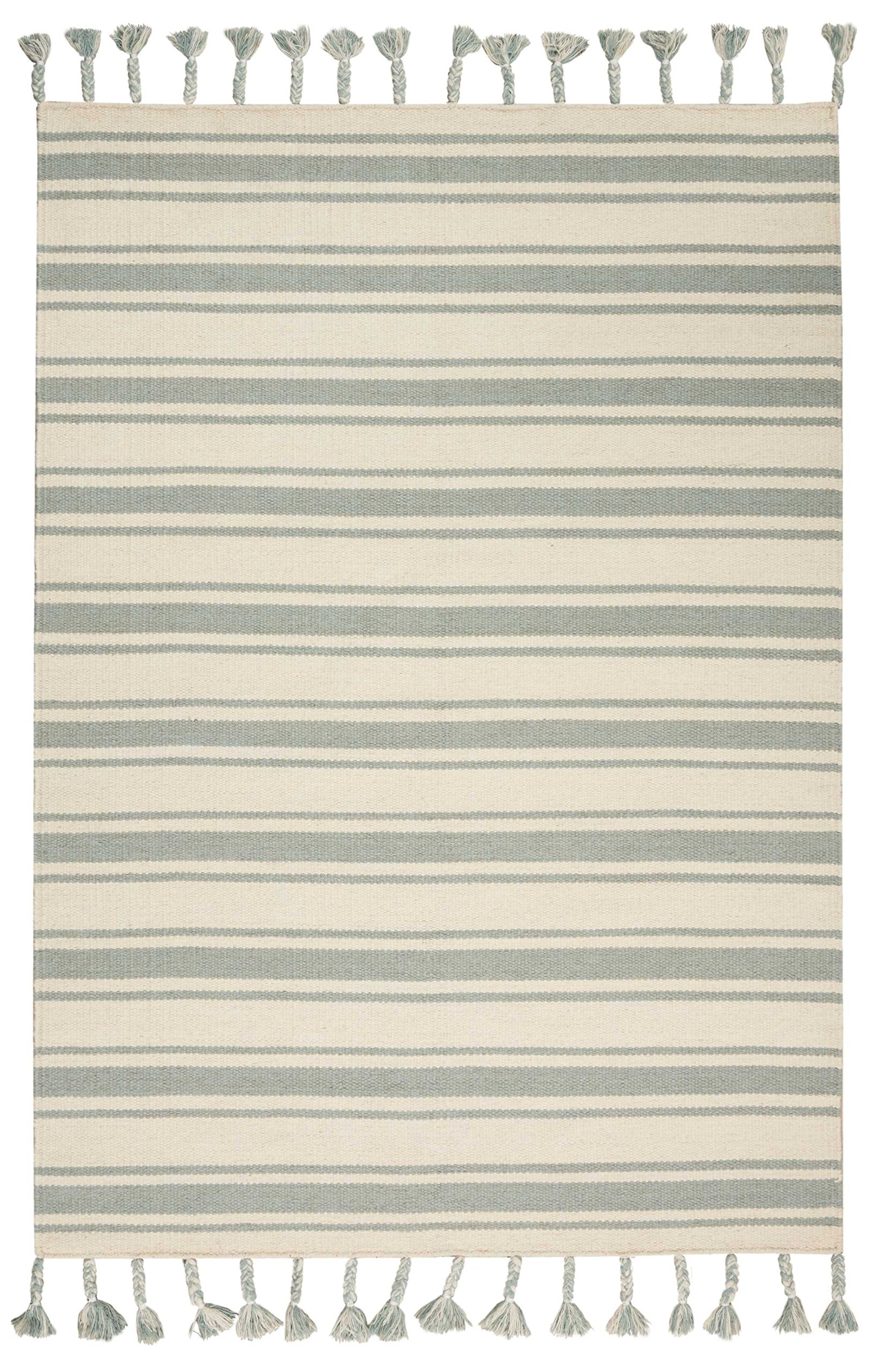 Nourison SLN01 Solano Striped Wool Ivory Spa Area Rug 5'X7'6''
