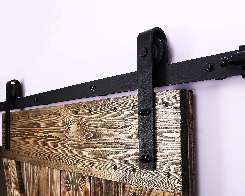 274CM//9FT Puerta de granero corredera estilo r/ústico puerta de granero corredera de madera para armario puerta granero herraje colgadocon gu/ía rodamientos deslizantes para puerta doble