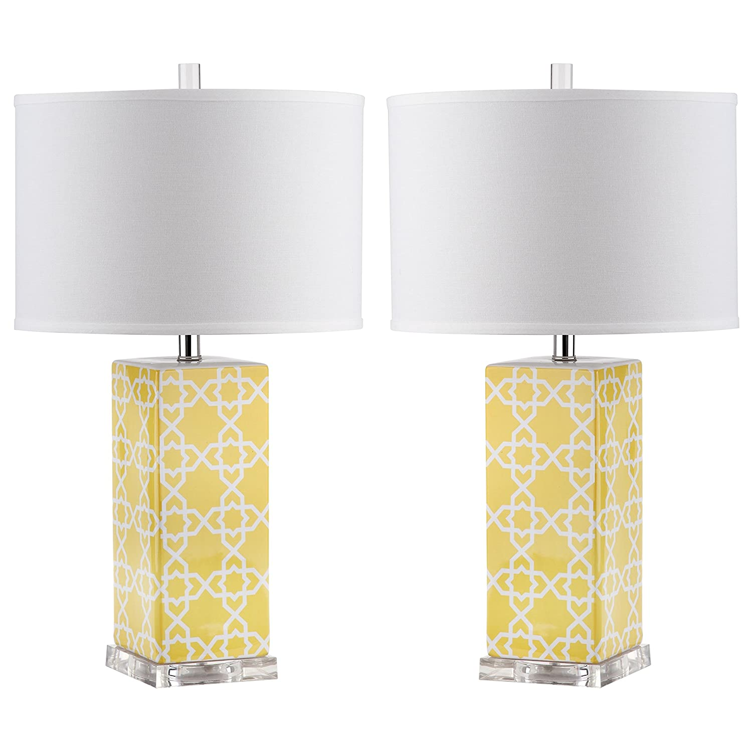 Amazon.com: Safavieh Lighting Collection Quatrefoil Yellow 27 Inch Table  Lamp (Set Of 2): Home U0026 Kitchen