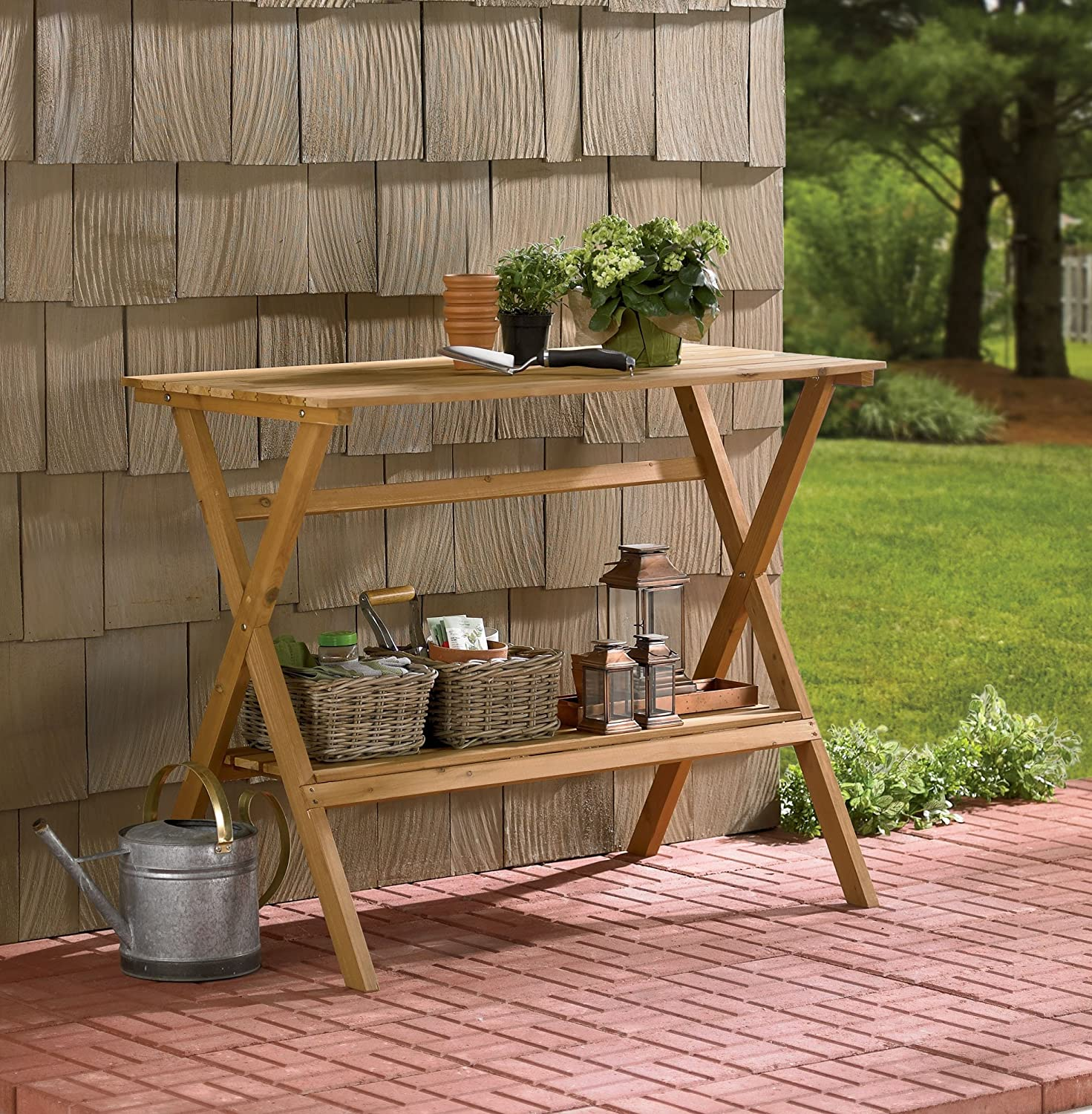 amazoncom merry garden fir wood potting bench and console table patio lawn u0026 garden