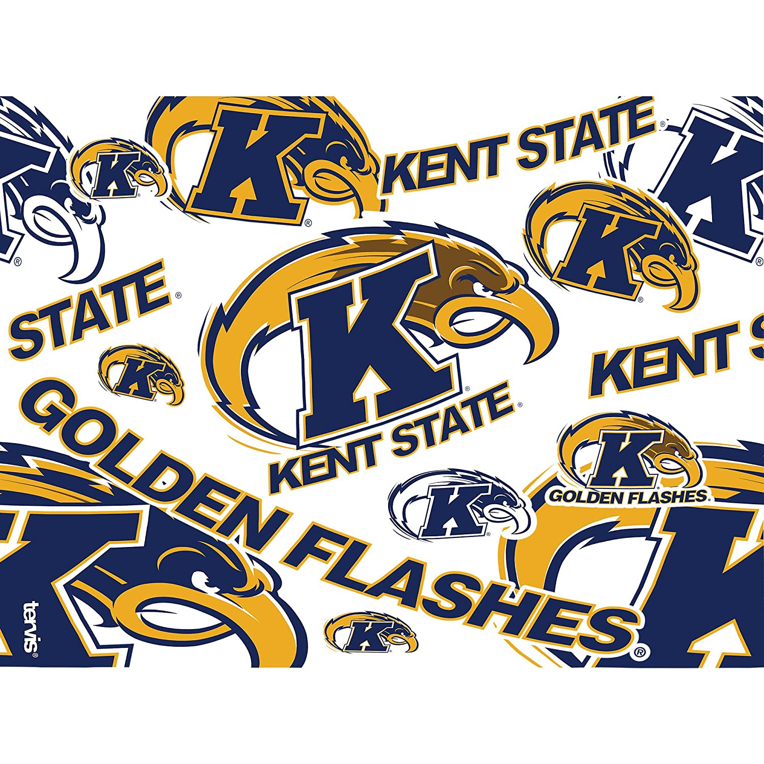 Tervis 1275593 Kent State Golden Flashes All Over Insulated Tumbler with Wrap and Navy Lid 24 oz Clear
