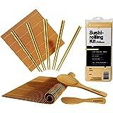 BambooWorx- Deluxe Sushi Making Kit + Chopsticks- 5 Pairs Elegant Chopsticks, 2 Sushi Rolling Mats, 1 Rice Paddle, 1 Rice Spreader, 100% Bamboo, Sushi Mats & Utensils.