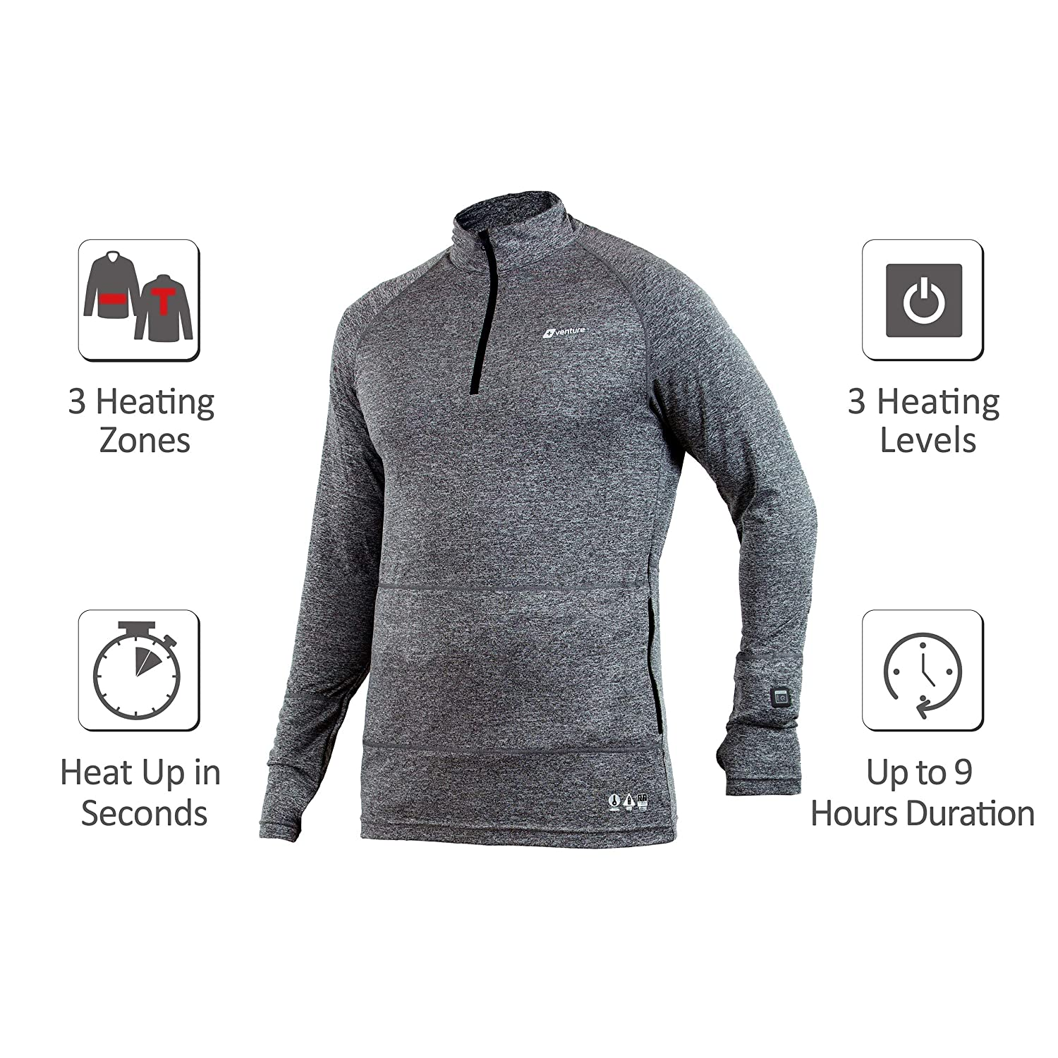 Battery Heated Clothing >> Venture Heat Men S Heated Base Layer With Battery 6 Hour The Nomad 1 4 Zip Heated Shirt For Men